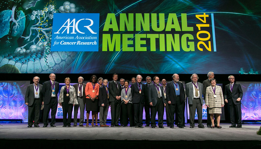 San Diego, CA - The AACR 2014 Annual Meeting -  Award Presentations During Opening Ceremony at the American Association for Cancer Research Annual Meeting here today, Sunday April 6, 2014. More than 18,000 physicians, researchers, health care professionals, cancer survivors and patient advocates are expected to attend the meeting at the San Diego Convention Center. The Annual Meeting highlights the latest findings in all major areas of cancer research from basic through clinical and epidemiological studies.  Photo by © AACR/Todd Buchanan 2014 Technical Questions: todd@medmeetingimages.com