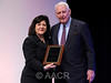 Washington, D.C. - AACR 101st Annual Meeting 2010: Bayard D. Clarkson, M.D., standing with AACR Chief Executive Officer Margaret Foti, Ph.D., M.D. (h.c.), is honored during the opening ceremonies at the American Association for Cancer Research Annual Meeting here today, Sunday, April 18, 2010. More than 17,000 physicians, researchers, health care professionals, cancer survivors and patient advocates from 60 countries are attending the meeting at the Walter E. Washington Convention Center. The meeting covers the breadth of cancer science from basic through clinical and epidemiological research.  Date: Sunday, April 18, 2010 Photo by © AACR/Phil McCarten 2010 Technical Questions: todd@toddbuchanan.com; Phone: 612-226-5154. Keywords: Opening Ceremonies,Bayard Clarkson Session: 324
